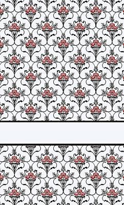 Art Nouveau Mixed Media - Red Peony Damask by Jenny Armitage