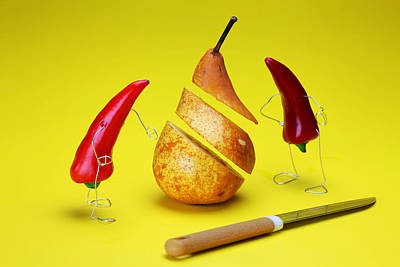 Micro Miniature Painting - Red Peppers Sliced A Pear by Paul Ge
