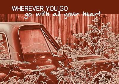 Red Pickup Quote Print by JAMART Photography