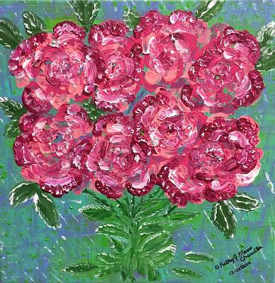 Red Pink Roses Print by Kathy Marrs Chandler