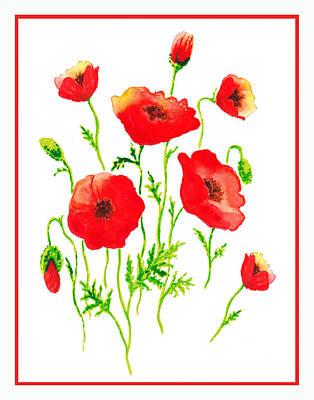 Red Poppies Botanical Design Print by Irina Sztukowski