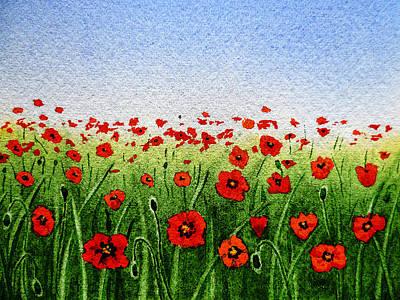 Red Poppies Green Field And A Blue Blue Sky Print by Irina Sztukowski