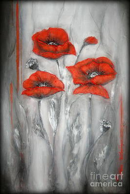 Floral Painting - Red Poppies In Silver Dream by Elena  Constantinescu