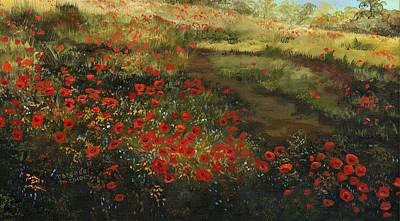 Red Poppy Field Print by Cecilia Brendel