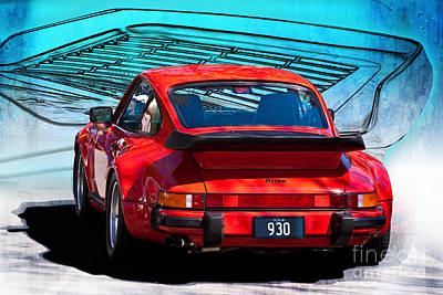 Red Porsche 930 Turbo Print by Stuart Row