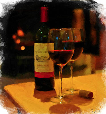 Glass Of Wine Mixed Media - Red Red Wine by Bob Sandler