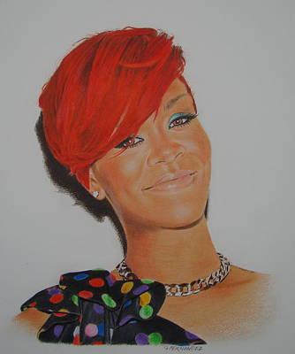 Rihanna Drawing - Red Rihanna. by Gary Fernandez