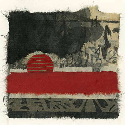 Torn Mixed Media - Red Rising Sun by Carol Leigh
