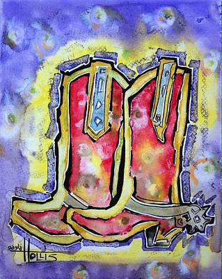 Painting - Red River Boots by Gayla Abel  Hollis