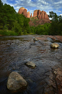 Leaves Photograph - Red River Crossing Under Cathedral Rock by Dave Dilli