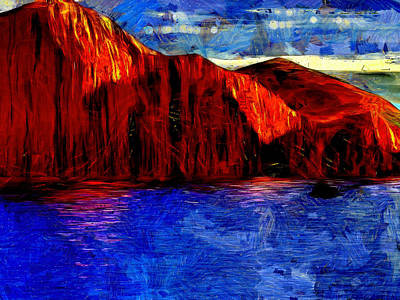 Red Rock Across The Water Print by Mario Carini