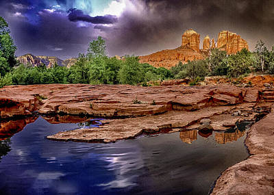 Red Rock Crossing Red Rock State Park Print by Bob and Nadine Johnston