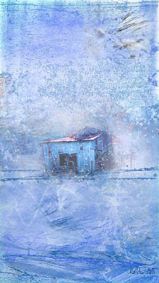 Red Barn In Winter Photograph - Old Barn With Red Roof In Blue by Marty Malliton