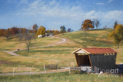 Arkansas Digital Art - Red Roof Covered Bridge by Elena Nosyreva