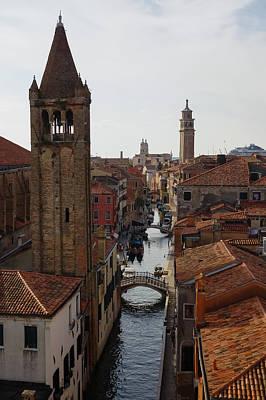 Red Rooftops Of Venice Print by Georgia Mizuleva