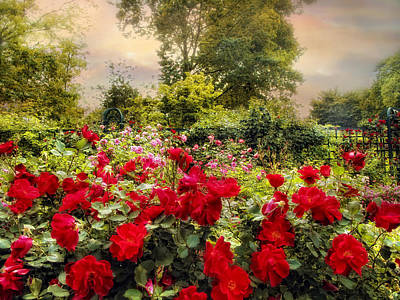 Garden Flowers Digital Art - Red Rose Garden by Jessica Jenney