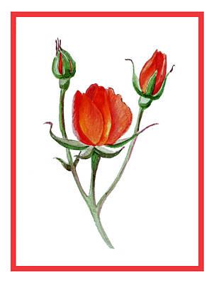 Red Rose Print by Irina Sztukowski