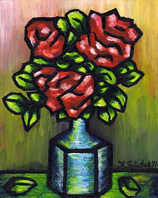 Polish Painters Painting - Red Roses by Kamil Swiatek