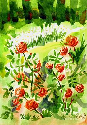 Red Roses With Daisies In The Garden Print by Kip DeVore