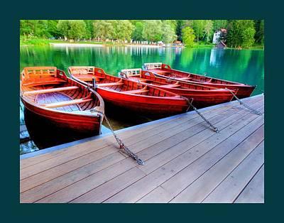 Rowboat Mixed Media - Red Rowboats Dock Lake Border by L Brown