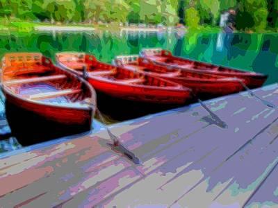 Rowboat Mixed Media - Red Rowboats Dock Lake Enhanced Vi by L Brown