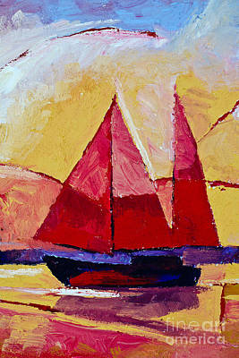 Abstract Seascape Painting - Red Sails Painting by Lutz Baar
