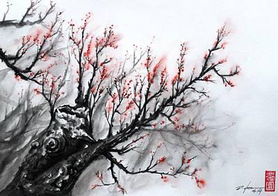 Sakura Painting - Red Sakura by Rodrigo Chaem