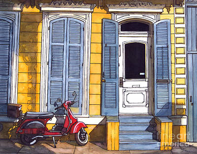 Red Scooter With Yellow House And Blue Shutters Print by John Boles