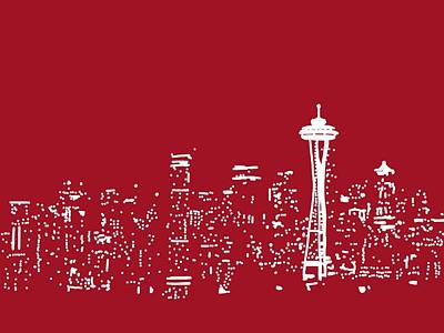 Michael Fitzpatrick Drawing - Red Seattle by Michael Fitzpatrick