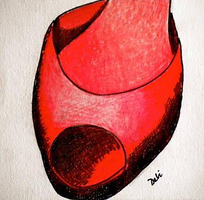 Fashion Design Drawing - Red Shoe by Debi Starr