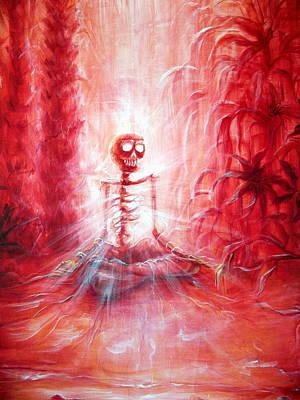Red Skeleton Meditation Print by Heather Calderon