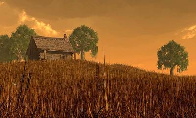 Western Themed Digital Art - Red Skies At Night by Daniel Eskridge