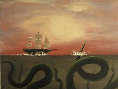Giant Squid Painting - Red Sky At Morning Sailor's Warning by Christina Glaser