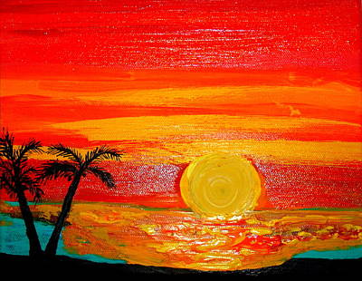 Painting - Red Sky At Night Sailors Delight by Daniel Nadeau
