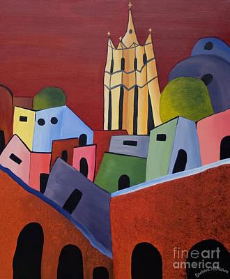 Red Sky In San Miguelle De Allende Print by Barbara McMahon