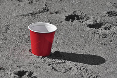 Liquor Mixed Media - Red Solo Cup by Trish Tritz