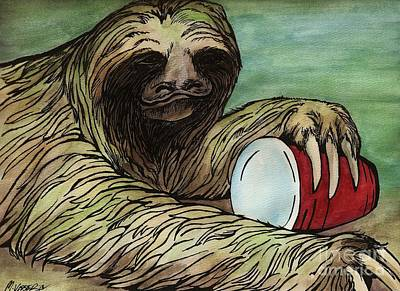Sloth Mixed Media - Red Solo Sloth by Meagan  Visser