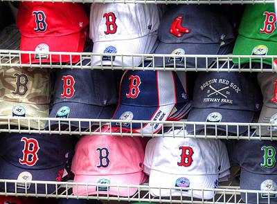 Baseballs Photograph - Red Sox Baseball Caps by Donna Doherty