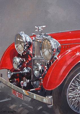 Grill Painting - Red Sp 25 Alvis  by Peter Miller