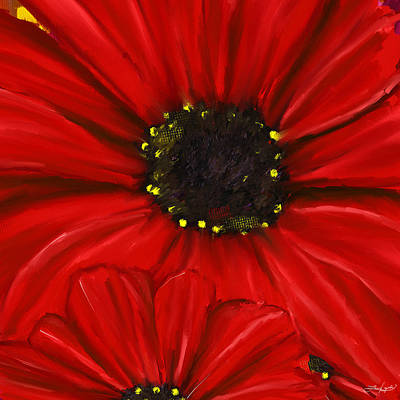 Red Spectacular- Red Gerbera Daisy Painting Print by Lourry Legarde