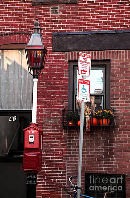 Red Street In Boston Print by John Rizzuto