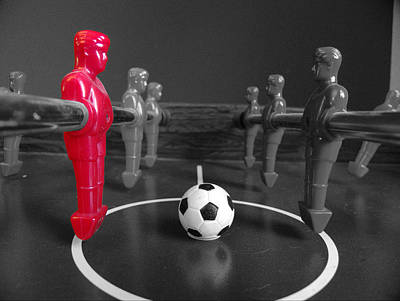 Footie Photograph - Red Striker by Richard Reeve