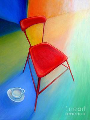 Red Studio Chair Print by Frederick  Luff