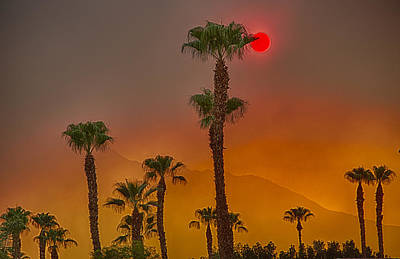 Wildfire Photograph - Red Sun Wild Fire Hdr by Scott Campbell