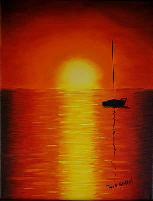 Sailboat Painting - Red Sunset 1 by Tina Stoffel