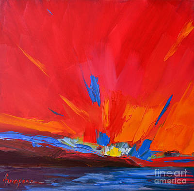 Red Sunset Modern Abstract Art Print by Patricia Awapara