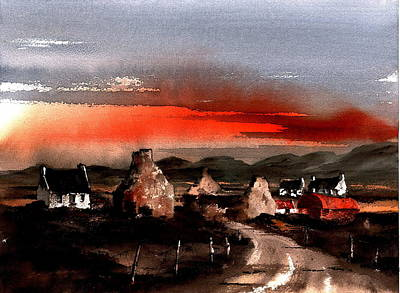 Red Sunset In The West Print by Val Byrne