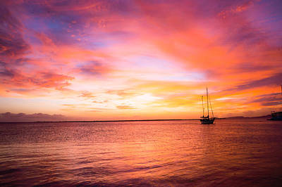 Ocean Photograph - Red Sunset Over The Ocean by Ellie Teramoto