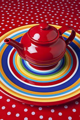 Stoneware Photograph - Red Teapot On Circle Plate  by Garry Gay