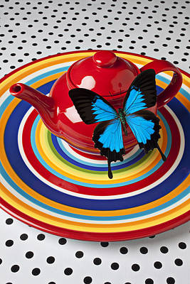 Stoneware Photograph - Red Teapot With Blue Butterfly by Garry Gay